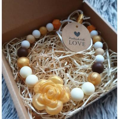 Kidi Love Silikónový náhrdelník KVET zlatý