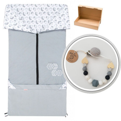 FUSAK 2v1 BARY bavlna - šedý / CUBE šedý s klipom, darčekové balenie