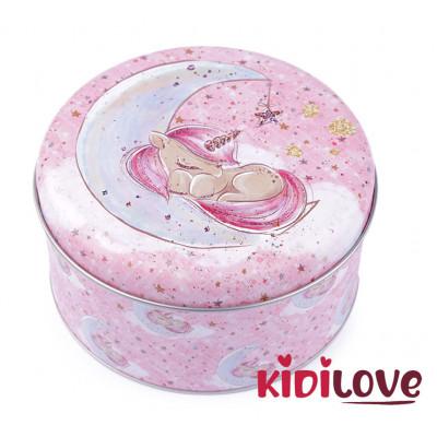 Plechová krabička malá - JEDNOROŽEC, pink